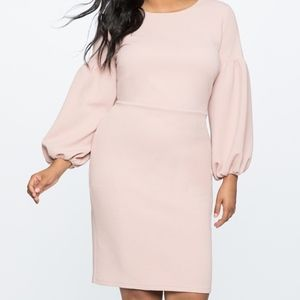 Eloquii Puff Sleeve Blush Bodycon Dress Sz 20